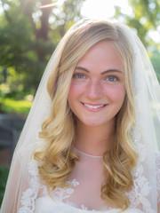 Beautiful Blond Blue Eyed Bride in Wedding Dress