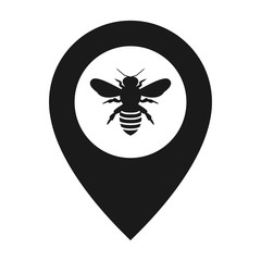 silhouette honey bee icon. marker point map vector
