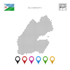 Vector Dotted Map of Djibouti. Simple Silhouette of Djibouti. National Flag of Djibouti. Set of Multicolored Map Markers
