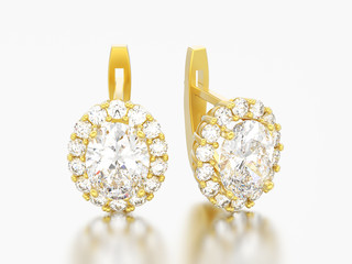 3D illustration gold diamond earrings with oval gemstone with hinged lock