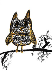 Owl on the branch. Hand-painted owl on a branch