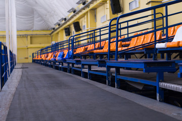 seats for spectators in the ice hall