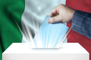 Italy - Voting On Ballot Box With National Flag Background