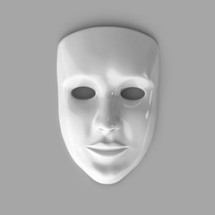 White glossy theatre mask  on gray background