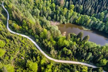 Germany, Baden-Wuerttemberg, Schurwald, Aerial view of road at Herrenbach reservoir