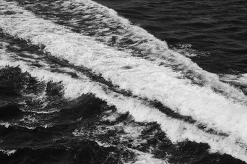 Black and white dramatic photo waves