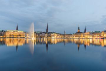 Germany, Hamburg, Inner Alster lake, city center in the evening