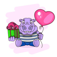 happy birthday card with cute hippo