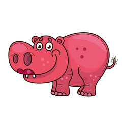 Cartoon cute baby hippo