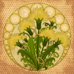 Wallpaper with flowers dandelions in art nouveau style, vector illustration