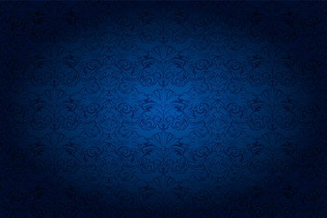 vintage horizontal background in dark blue ultramarine, with classic Baroque pattern, Rococo with darkened edges