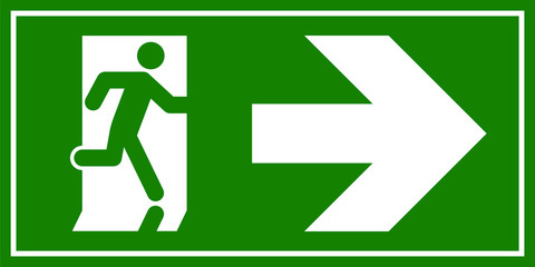 Emergency exit sign. Man running out fire exit