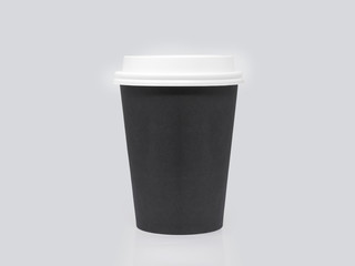 Black cardboard take away cup for hot beverage with white lid isolated on a white background