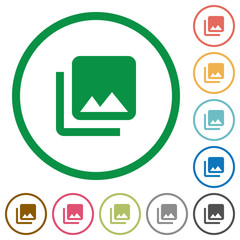 Photo library flat icons with outlines