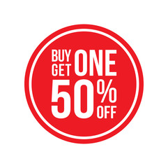 Buy One Get One 50% Off Sign Horizontal Circular