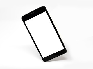 Black smartphone with blank screen standing on its corner, isolated, mock up