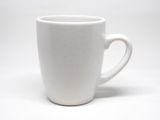 White cup isolated on white background with shadows
