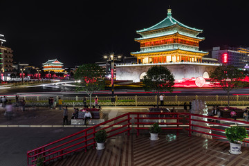Famous Bell Tower in the Xi'an city, China. Xi'an is capital of Shaanxi Province and one of the oldest cities in China. Xi'an is the starting point of the Silk Road and home to the Terracotta Army. Fototapete