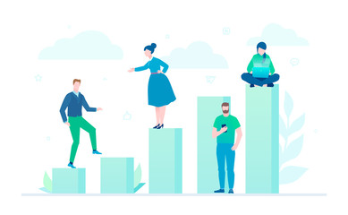 Business growth - flat design style colorful illustration