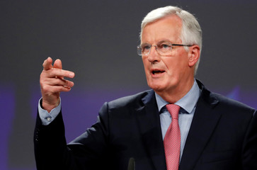 EU's chief Brexit negotiator Barnier holds a news conference in Brussels