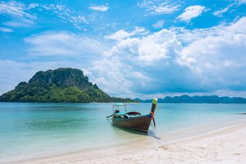 blue sky. Beach in Krabi province, Thailand.