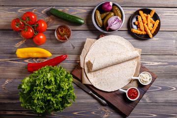 Ingredients for preparing mexican food, tortilla.