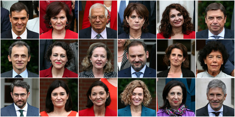 A combination picture shows the new Spanish government posing for a family photo following the first cabinet at the Moncloa Palace in Madrid