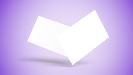 Two blank white cards floating, gradient purple surface and background, isolated