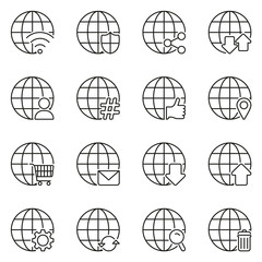 Modern Globe Icons Thin Line Vector Illustration Set