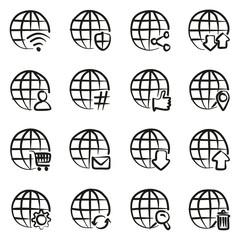 Modern Globe Icons Freehand