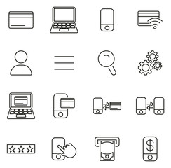 Mobile & Online Banking Icons Thin Line Vector Illustration Set