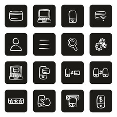 Mobile & Online Banking Icons Freehand White On Black