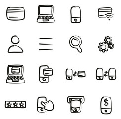 Mobile & Online Banking Icons Freehand