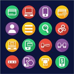Mobile & Online Banking Icons Flat Design Circle