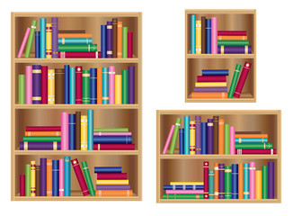 Bookshelf / bookcase set vector