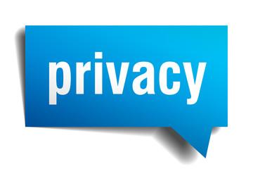 privacy blue 3d speech bubble