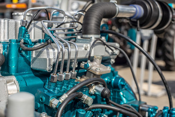 new tractor engine separately. industrial machine photo.