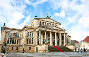 Concert Hall (Konzerthaus) and Friedrich Schiller statue at Gendarmenmarkt square in Berlin, Germany