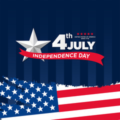 4th of July, United Stated independence day greeting. Fourth of July on blue background design. Usable as greeting card, banner, flyer
