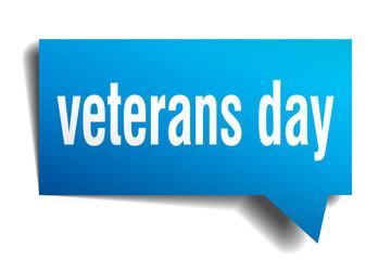 veterans day blue 3d speech bubble
