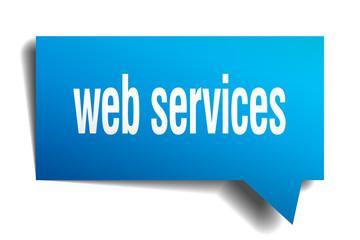 web services blue 3d speech bubble