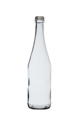 empty glass bottle for drinks with an iron screw stopper