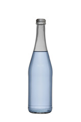 the glass bottle filled with water is also closed by an alyuminivy screw stopper, isolated on a white background