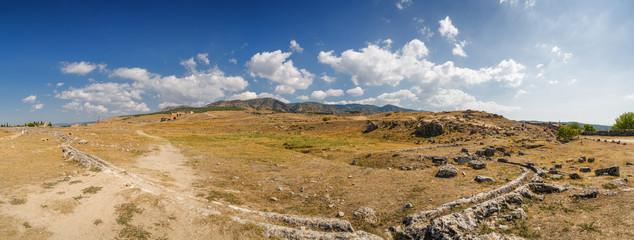 Deurstickers Turkije Sunny panoramic view of ruins of ancient Hierapolis near Pamukkale, Denizli province, Turkey.