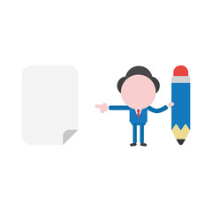 Vector businessman character holding pencil and pointing blank paper