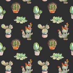 Seamless pattern with cactus, succulents and floral elements on dark background. Vintage watercolor botanical illustration for textile, print, invitation, party. Tropical concept.