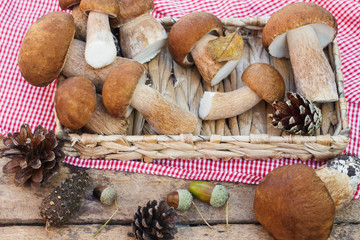 Mushrooms, pine cones with dry decorations on the wooden table