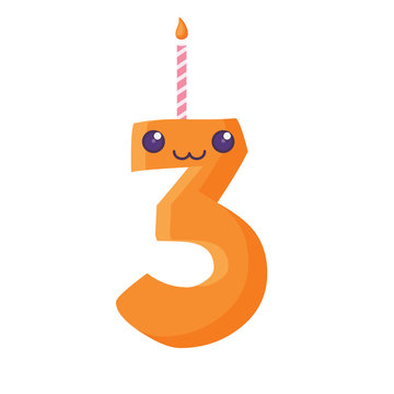 Kawaii birthday candle of number three over white background, vector illustration