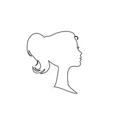 Black profile contour silhouette of young girl or woman head, face profile, vignette.