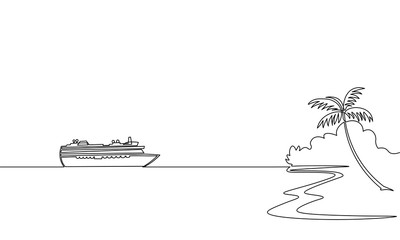 Single continuous one line art ocean travel vacation. Sea voyage holiday tropical island ship liner cruise journey concept design sketch outline drawing vector illustration